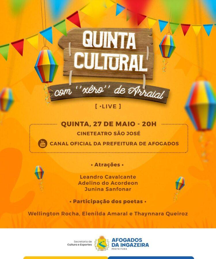 Quinta Cultural: prefeitura vai promover live com artistas e poetas afogadenses